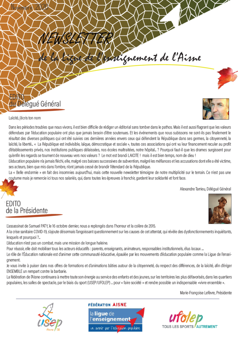 1ere page newsletter